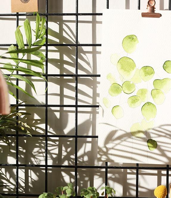 Zoom sur le tableau d'inspirations de l'atelier de Lili Green : fougère séchée et aquarelle accrochées sur une grille noire.
